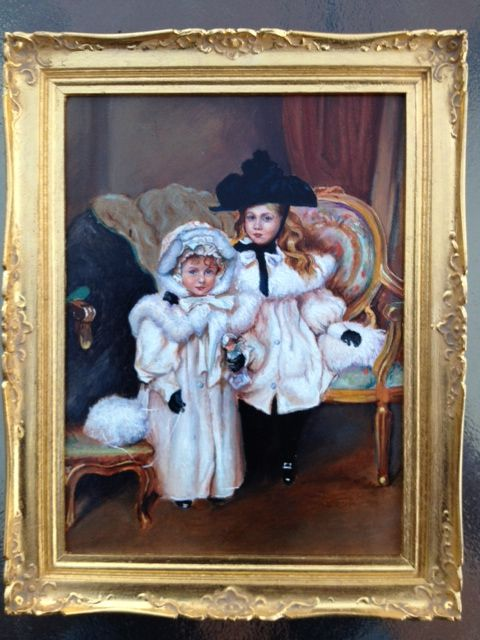 Miniature painting by Johannes Landman who also handcarved the frame.  i just love the girls outfits.