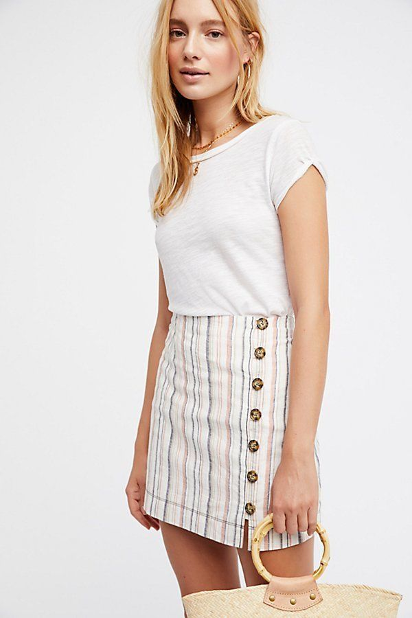 Stripes On Sunday Mini Skirt by Free People