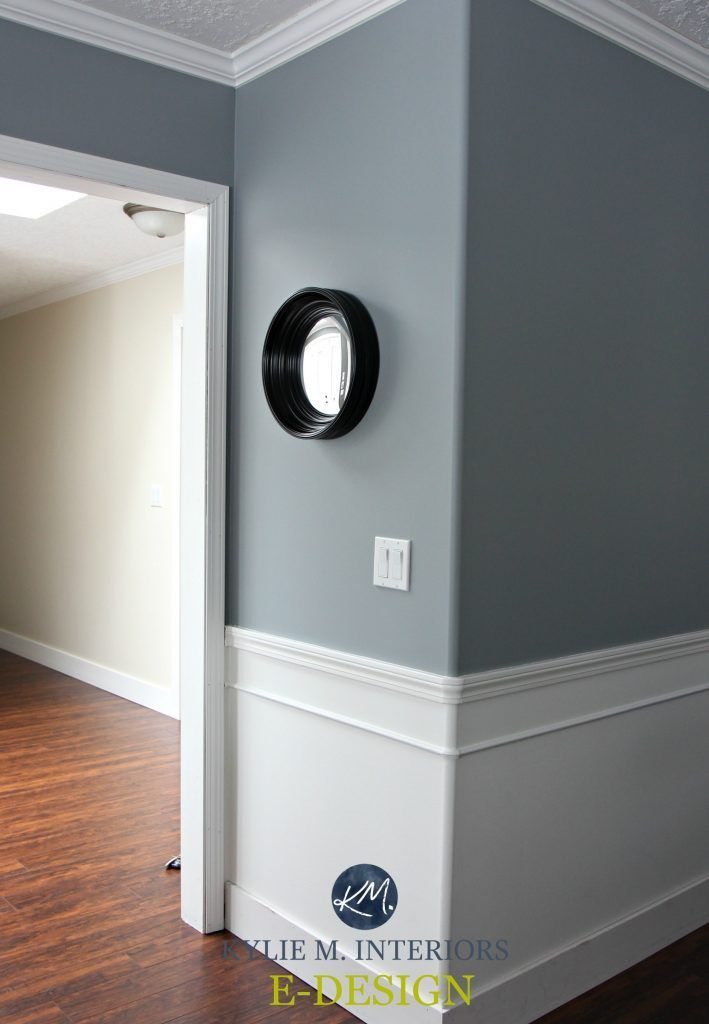 Sherwin Williams Network Gray Albescent Background Red Cherry Toned Laminate Flooring White Wainscoting Type Walls Kylie M Interiors E Design And Online