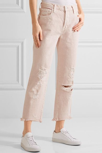 J Brand - Ivy Cropped Distressed High-rise Straight-leg Jeans - Pastel pink - 31