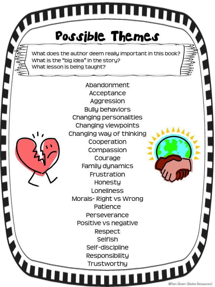 Free Poster of Possible Themes from a packet of Higher-Level thinking printables.