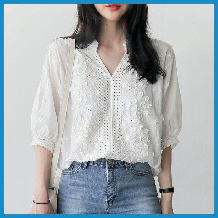 Embroidery blouse white shirt women blouses shirts blusas mujer de moda 2017 chemise femme loose tops plus size women clothing