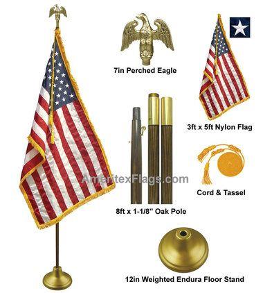 """8' x 1-1/8"""""""" Oak Wooden Pole Deluxe U.S. Indoor Flag Set with 3'x 5' Flag FW-301"""