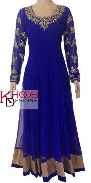 designer royal blue Anarkali suit with stunning gold diamantes across the neck and sleeves by Khoob Designs