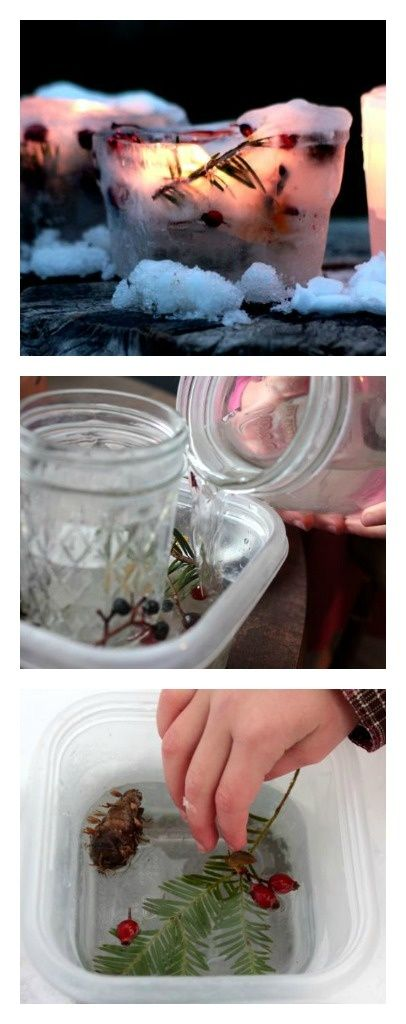 Ice Lanterns - so simple to make! Place them on your doorsteps as decor for this year's holiday party.