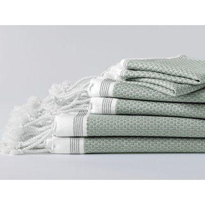 Coyuchi Mediterranean Bath Towel Color: Eucalyptus/Deep Pewter
