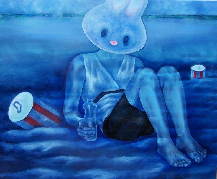 Harka Ágnes: Fairy in a Rest, 80x100 cm mixed media