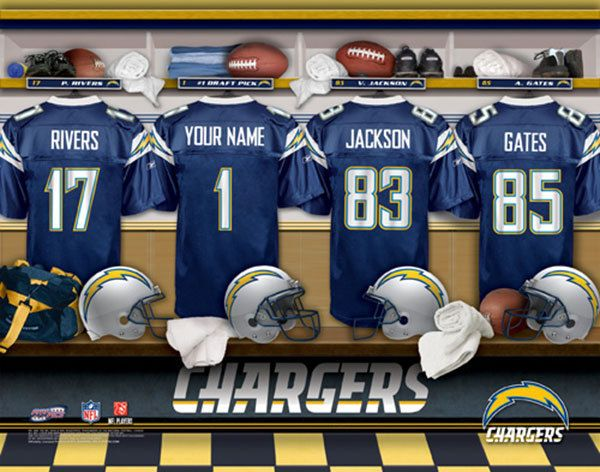 San Diego Chargers NFL Football - Personalized Locker Room Print / Picture. Have you or someone you know ever dreamed about playing next to your favorite San Diego Chargers players. You or someone you know can be right there in the locker room with San Diego Chargers players! Optional framing with mat is available. Perfect for gifts, rec room, man cave, office, child's room, etc.  (http://www.oakhousesportsprints.com/san-diego-chargers-locker-room-print/)