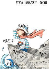 VERSO L'ORIZZONTE - OO001     Il disegno originale è eseguito con acquarelli, matite, matite acquarellabili, china; il collage della barca è fatto con carta di giornale. Risale al 2013.
