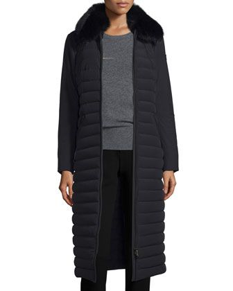 Quilted+Long+Fur-Trim+Coat,+Nero+by+Peuterey+at+Neiman+Marcus.