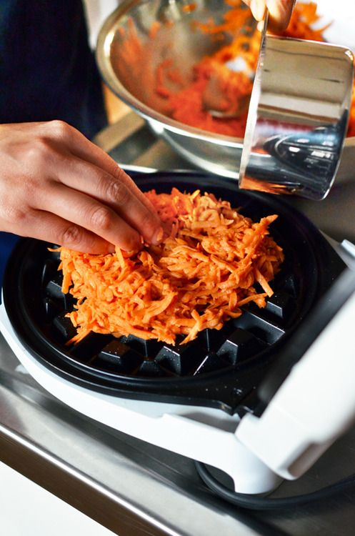 Shredded sweet potato instead of waffle mix - YUM Cooking from Well Fed 2 http://nomnompaleo.com