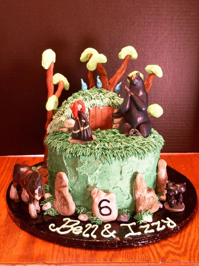 Brave cake for 6-year-old twins.  Trees are a wire structure with fondant and modeling chocolate molded on top.