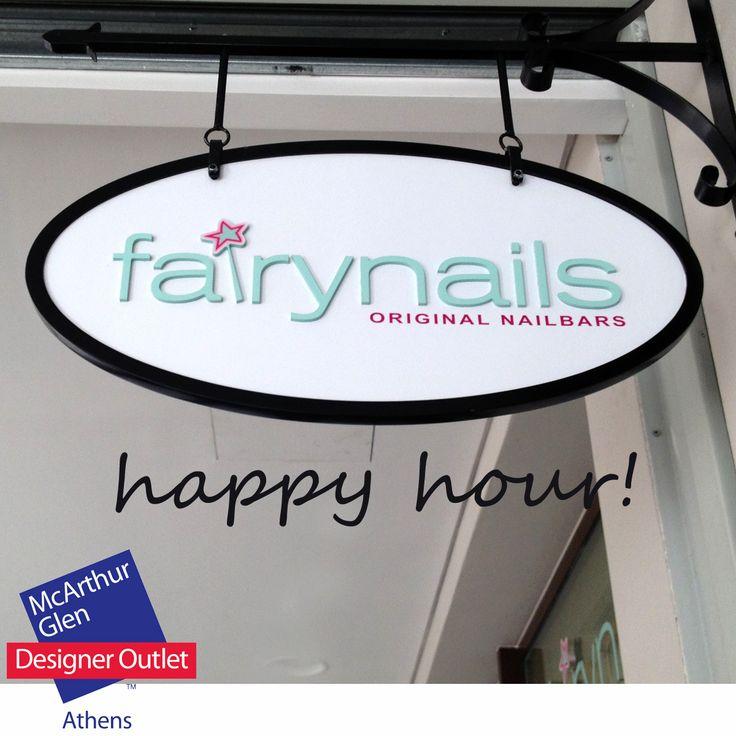'HAPPY HOUR' στα Fairynails στο McArthurGlen Designer Outlet Athens!  Απο Δευτέρα εως Πέμπτη 13:00-16:00.  ΜΑΝΙΚΙΟΥΡ-ΠΕΝΤΙΚΙΟΥΡ 30 ΕΥΡΩ (ΑΠΟ 38) SHELLAC 7 ΕΥΡΩ + ΤΗΝ ΥΠΗΡΕΣΙΑ (ΑΠΟ 14) VINYLUX 2 ΕΥΡΩ + ΤΗΝ ΥΠΗΡΕΣΙΑ (ΑΠΟ 4)  Για να κλείσετε ραντεβού τηλεφωνείστε στο 210 6638076.  http://www.fairynails.gr/