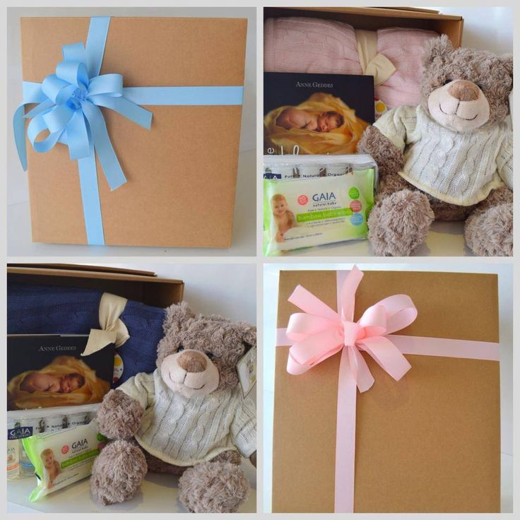 Baby gift baskets in blue and pink. Welcome someone's baby in the most special way!