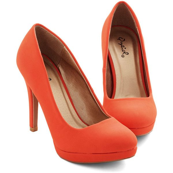 Give your sneaks a rest and add some verve to your day's ensemble! This bright-tangerine, platform pump is crafted from smooth, vegan faux leather and kicks yo…
