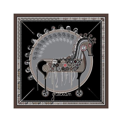 """Trojan Horse"" silk scarf by grecian chic, elena zournatzi 90cm x 90cm 100% twill silk"