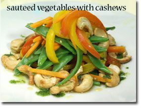 Sauteed Vegetables with Cashews allowed broth bell peppers onion, snow peas, cashews, olive oil, lemon, garlic, salt and pepper