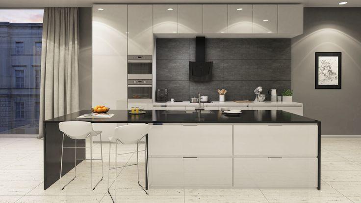 Elegancka otwarta kuchnia z wyspą i okapem Vintio 60 Black marki GLOBALO.
