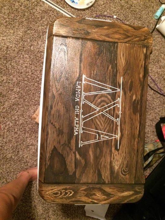 lambda chi alpha wood grain fraternity cooler