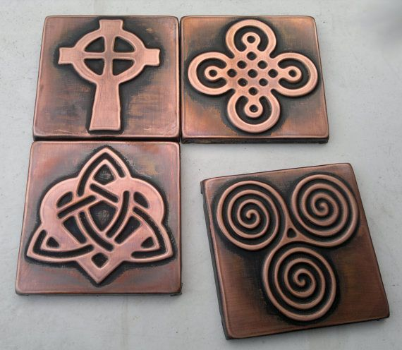 Celtic Tiles Celtic Designs Set Of 4 Copper Celtic Tiles Celtic Decor Celtic Shamrock Triskel Celtic Knot Copper Decor Accent Tile