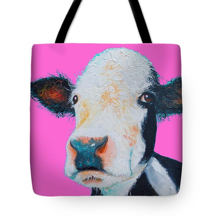 Hereford Cow on Hot Pink Tote Bag #totebags #carrybag