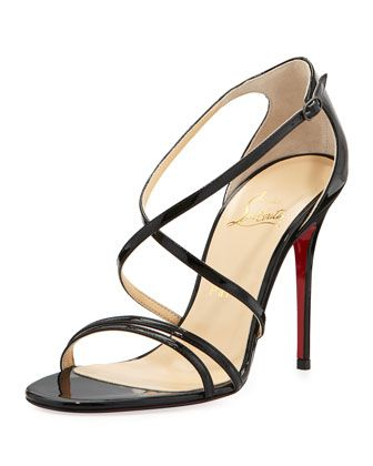 Gwynitta+Patent+Crisscross+Red-Sole+Sandal,+Black+by+Christian+Louboutin+at+Neiman+Marcus.