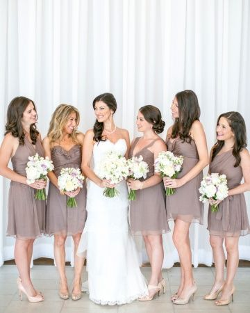 white bridesmaid flowers with charcoal dresses