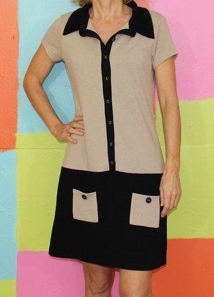 À vendre sur #vintedfrance ! http://www.vinted.fr/mode-femmes/robes-casual/27660433-robe-chemise-style-vintage-beigenoir-t38-promod-demi-saison-chicmoderetro