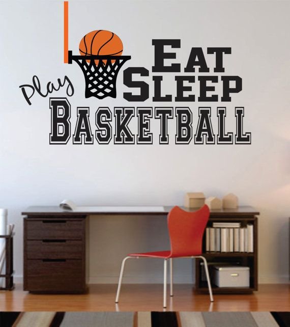 Basketball Wall Decal, Basketball Nursery Decal, Basketball Boy Wall Decal, Basketball Girl Wall Decal, Eat Sleep Play – WD0058