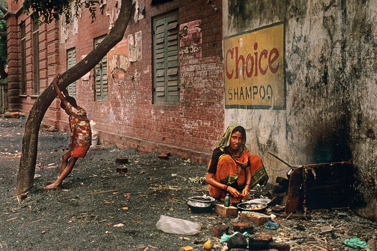 Steve McCurry, INDIA. Calcutta. 1996. Today India's poverty rate hovers at 36 percent, nowhere more apparent than in Calcutta. While some of the homeless come here from the countryside looking for jobs, many are refugees from near by Bangladesh