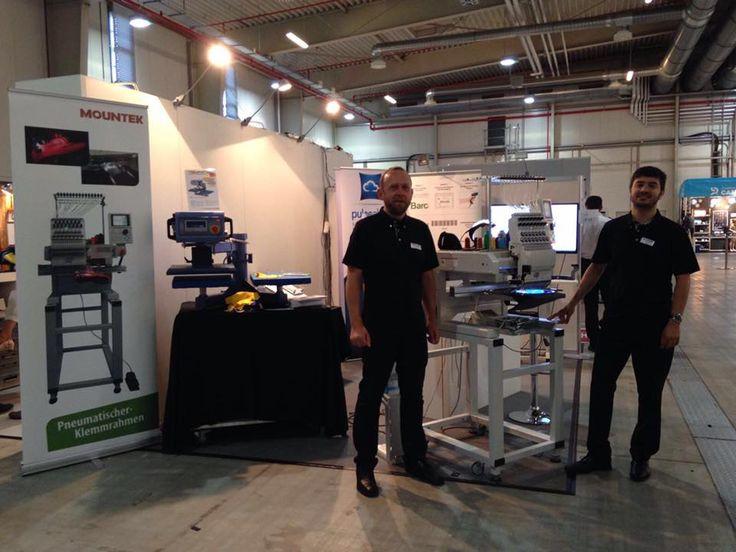 Le macchine da ricamo #Tajima ed il software #Pulse allo stand Mountek durante la fiera #MerchDays in Germania, convention internazionale del merchandising.