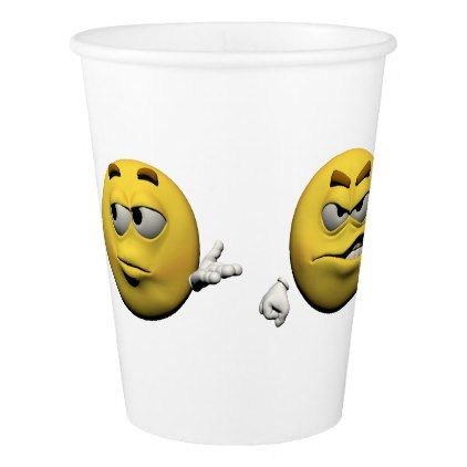 Yellow angry emoticon or smiley paper cup - diy cyo customize create your own personalize