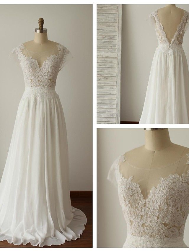 A-line Wedding Dress - Ivory Sweep/Brush Train Scoop Chiffon / Lace - USD $129.99