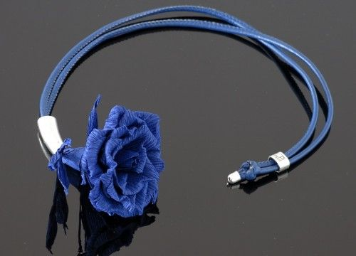 Necklace with a flower of rose.  It comes from an authorial collections designed by fashion designer – Joanna Misztela, in cooperation with masters of Polish handicraft.