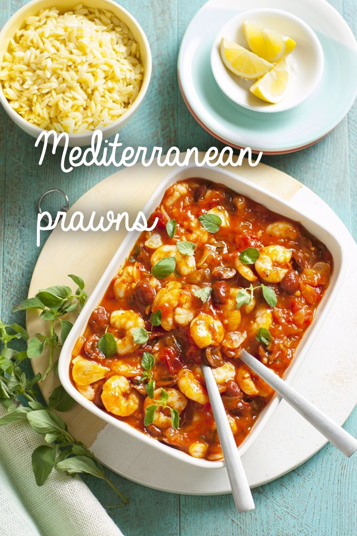 With king prawns, garlic and pitted olives, this quick seafood dish has real Mediterranean flavours. It only takes 15 minutes to make and serves 4 people.