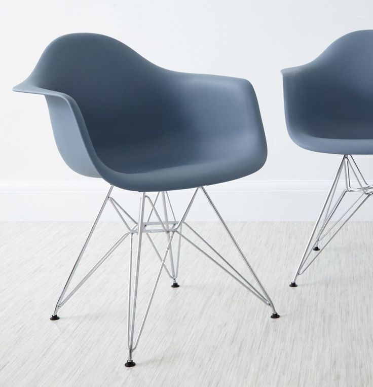 Eames Moulded Wire Frame Dining Armchair In Steel Blue