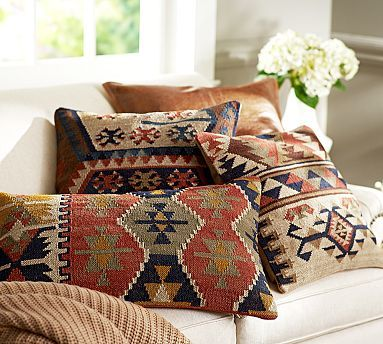 In search of new pillow covers. Shelton Kilim Pillow Cover #potterybarn