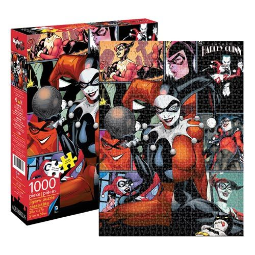 Batman Harley Quinn 1,000-Piece Puzzle  One of DC Comics' most notable (and nutty) femme fatales, Harley Quinn is all over this captivating Batman Harley Quinn 1,000-Piece Puzzle that measures 27-inches tall x 20-inches wide when completed. Aren't you just crazy about her? Ages 14 and up.   via @AnotherUniverse.com  https://anotheruniverse.com/batman-harley-quinn-1000-piece-puzzle