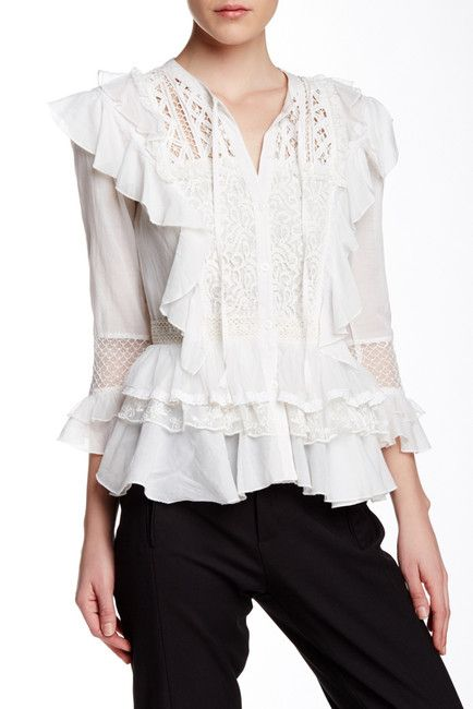 Long Sleeve Blouse With Ruffles 93