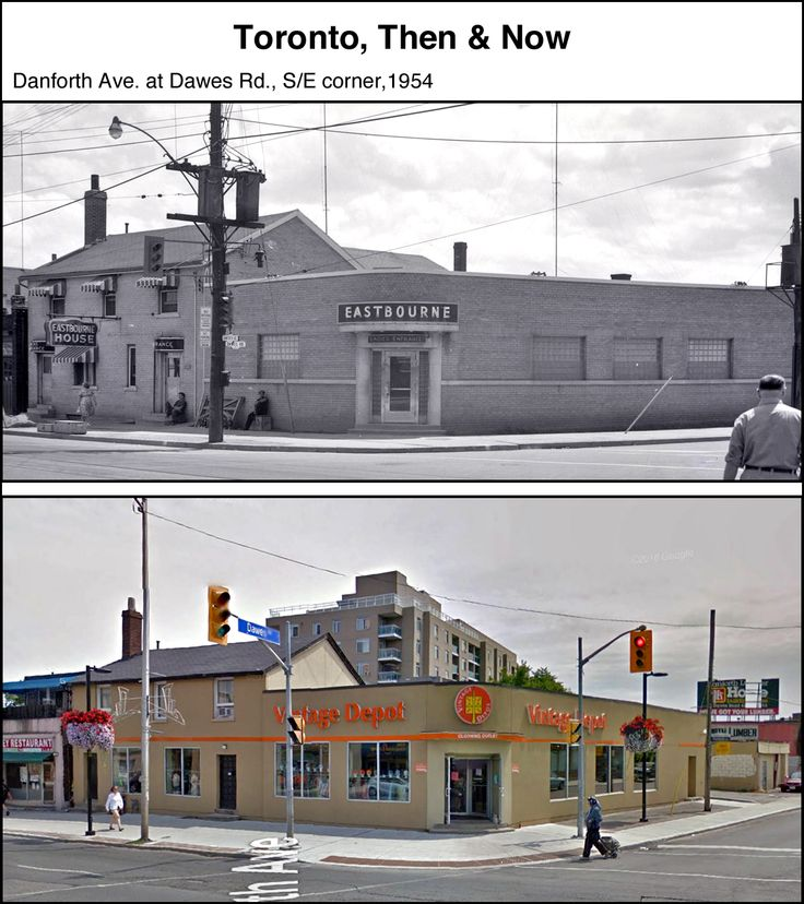 Eastbourn House Danforth at Dawes Rd. S-E corner c1954. Toronto. Note the separate ladies entrance as required by law at the time. Second photo is the same structure as seen today