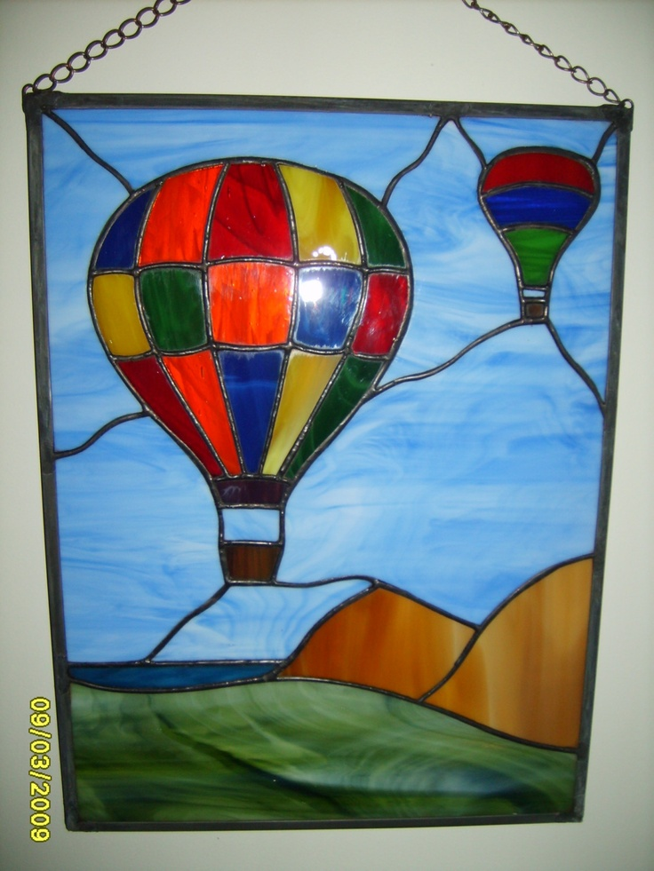 Stained Glass, Hot Air Balloon Launch Over The Ocean. $70.00, via Etsy.