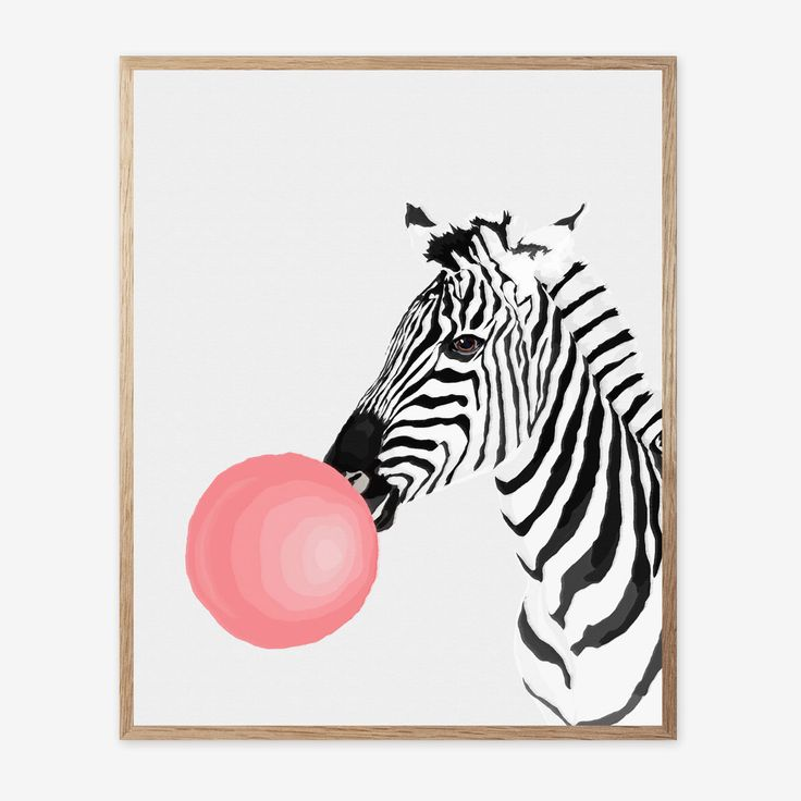 Zebra Print, Zebra Decor, Nursery Animal Wall Art, Kids Room Printable Instant Digital Download, Pink Bubble Gum, Modern Minimalist 16x20 by ArtSplashStore on Etsy https://www.etsy.com/listing/500980683/zebra-print-zebra-decor-nursery-animal
