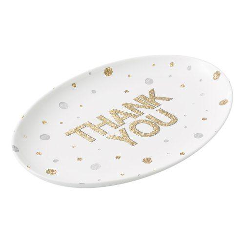 Gold Glitter Silver Foil Print Confetti Thank You Porcelain Serving - confeti