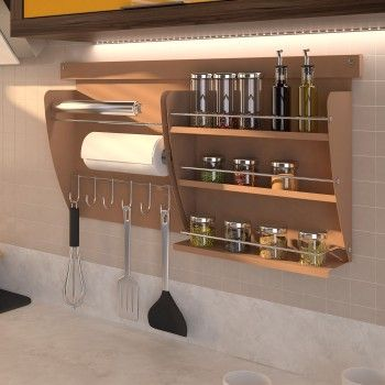 Nicho aéreo de cozinha Colors - Porta Rolos + Porta Condimentos