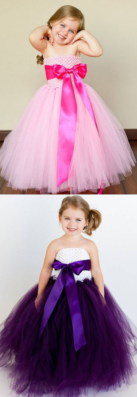 Flower Girl Dresses, A Line dresses, Cheap Flower Girl Dresses, Cheap Long Dresses, Flower Girl Dresses Cheap, Pink Flower Girl Dresses, A line Flower Girl Dresses, Long Flower Girl Dresses With Bowknot Sleeveless Floor-length