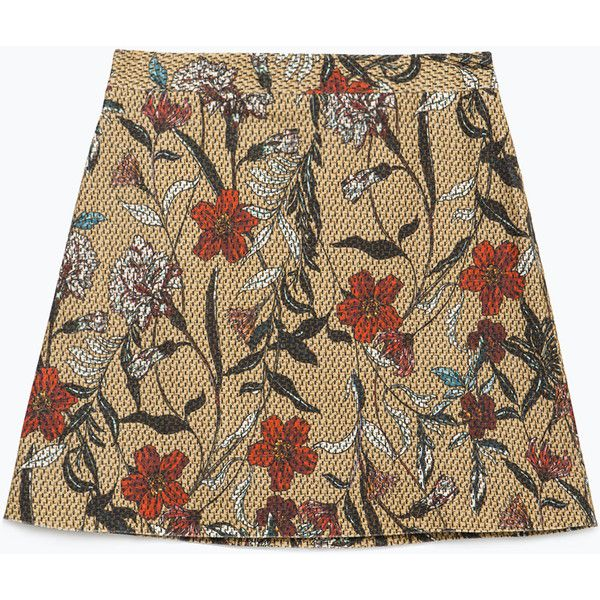 Zara Printed Skirt ($13) ❤ liked on Polyvore featuring skirts, bottoms, camel, camel skirt, zara skirt and brown skirt