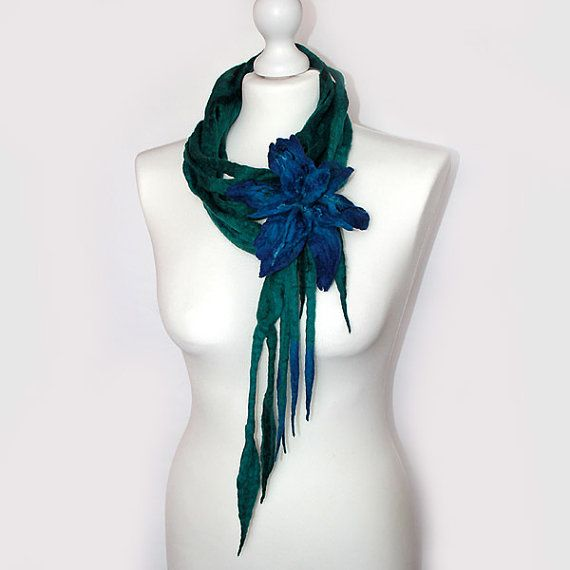 Felted Necklace Scarf Belt Lariat Flower Brooch Boho by EsartFelt, $48.00
