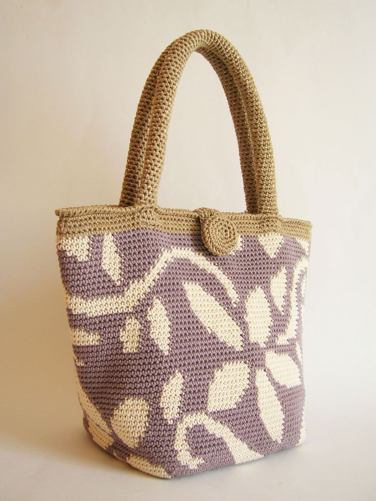 Crochet pattern for flower tote, charts with symbols and written instructions…