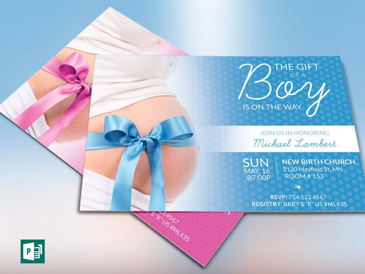 """Baby Shower Invitation Publisher Template  is designed in Microsoft Publisher for baby showers, birthday parties and other babylicious events. A clean modern design to reach your target audience.   This template is a Microsoft Publisher template designed by Godserv to be edited with Publisher 7 and higher. Once you have downloaded this template, use Publisher 7 or later to make edits to this template.  WHAT'S INCLUDED - 1 – 6""""×4"""" Girl Baby Shower Invitation Publisher Template - 1 – 6""""×4"""" Boy ..."""