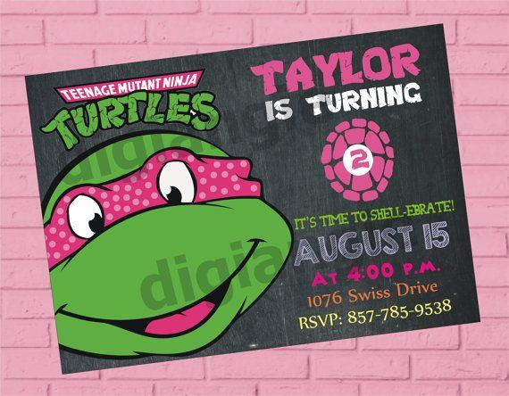 Girl Teenage Mutant Ninja Turtle Birthday Invitation by digiangie